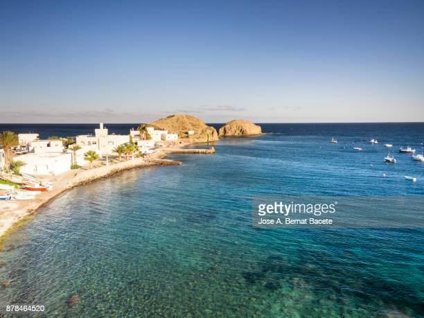 Coastal town of fishermen and tourism, Isleta del Moro, of the natural park of Cabo de Gata - Nijar, in Almeria,  Andalucia, Spain.