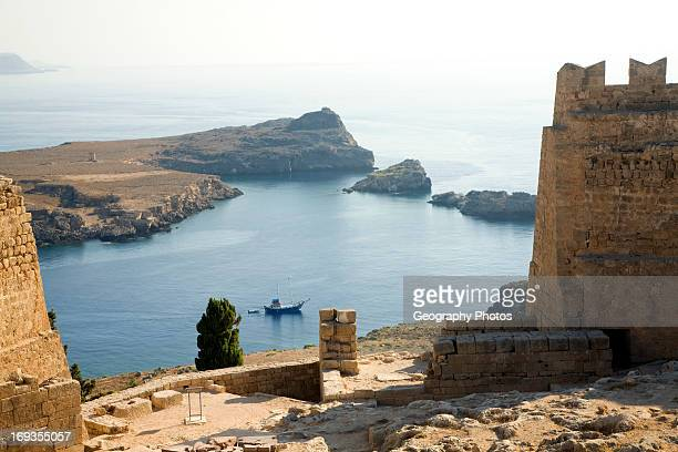 Coastal view north Lindos Rhodes Greece