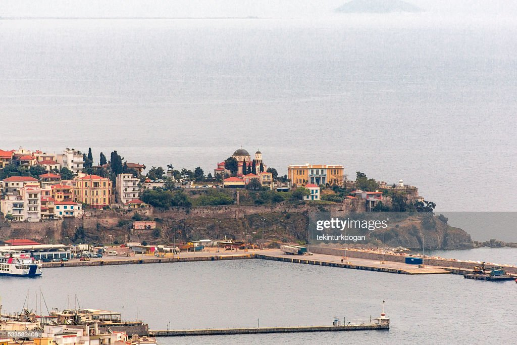 coastal view of kavala old town in greece : Stock Photo