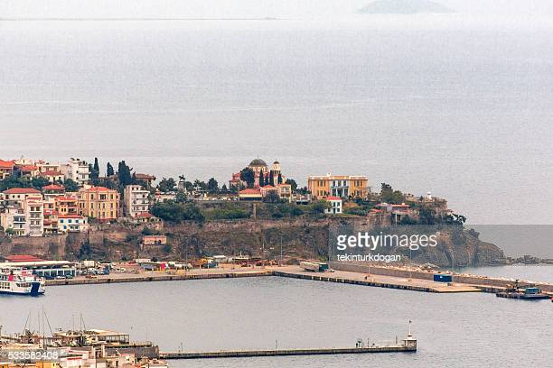 coastal view of kavala old town in greece