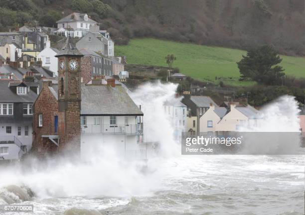 coastal village during storm - flooding stock photos and pictures