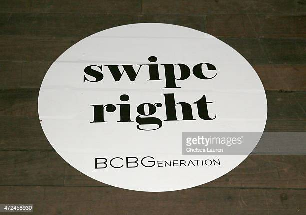 A coaster printed with the phrase 'swipe right' is displayed at the NYLON Young Hollywood Party presented by BCBGeneration at HYDE Sunset Kitchen...