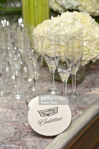 Coasters and champagne flutes are displayed during the Cadillac Oscar Week Celebration at Chateau Marmont on February 25 2016 in Los Angeles...
