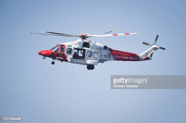 Coastguard helicopter during the search for a missing snorkeler on May 28, 2020 in Portland, England. HM Coastguard and police are involved in a...