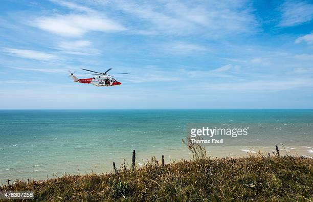 coastguard helicopter - beachy head stock photos and pictures