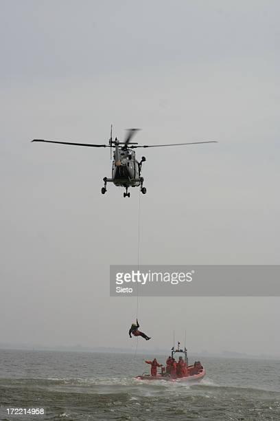 Coastguard performing SAR operation at sea