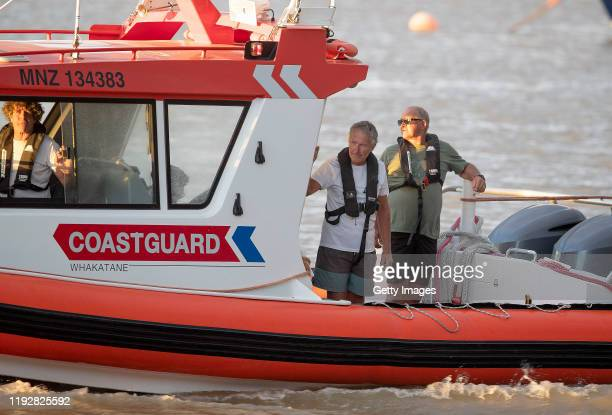 Coastguard rescue boats are pictured alongside the marina near Whakatane on December 09 2019 in Whakatane New Zealand One person has died several are...