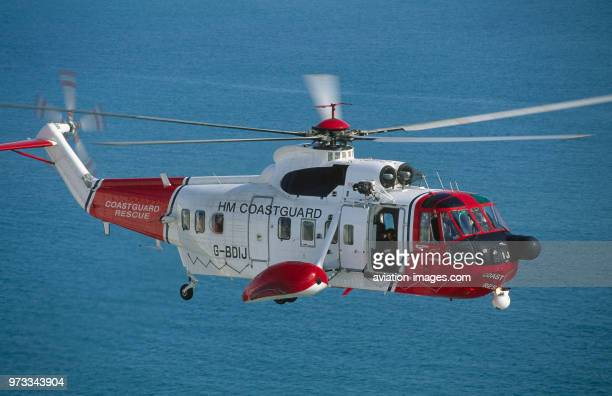 HM Coastguard Sikorsky S61N flying enroute over the sea airsea rescue service operated by Bristow Helicopters UK
