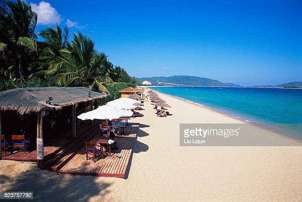 coastline along beach resort in sanya - hainan island stock pictures, royalty-free photos & images