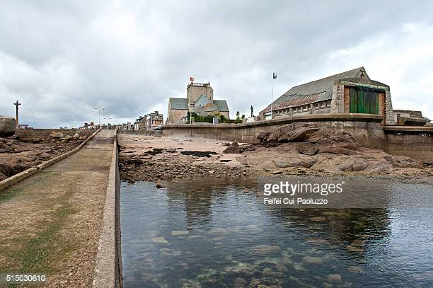 Coastline and harbor at Barfleur of Manche department in France