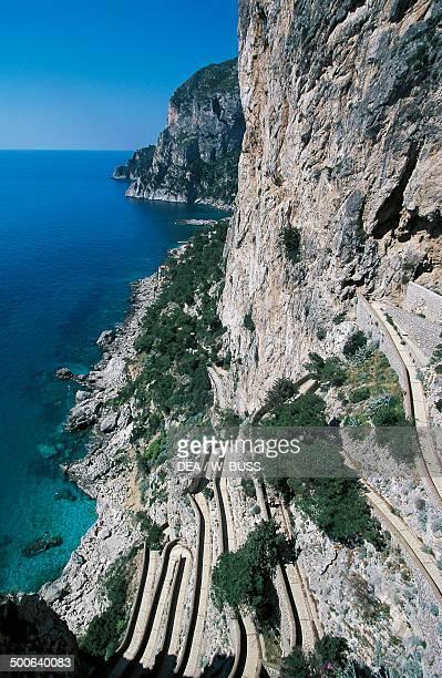 Coastline and Via Krupp seen from Augustus Gardens Isle of Capri Campania Italy
