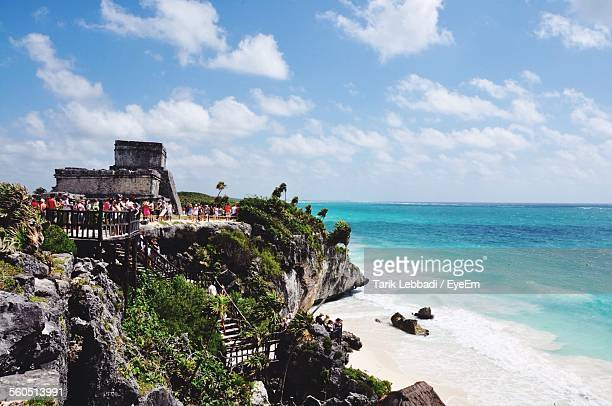 coastline at tulum ruins - quintana roo stock pictures, royalty-free photos & images