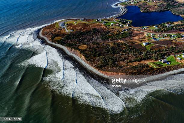 coastline below - nova scotia stock pictures, royalty-free photos & images