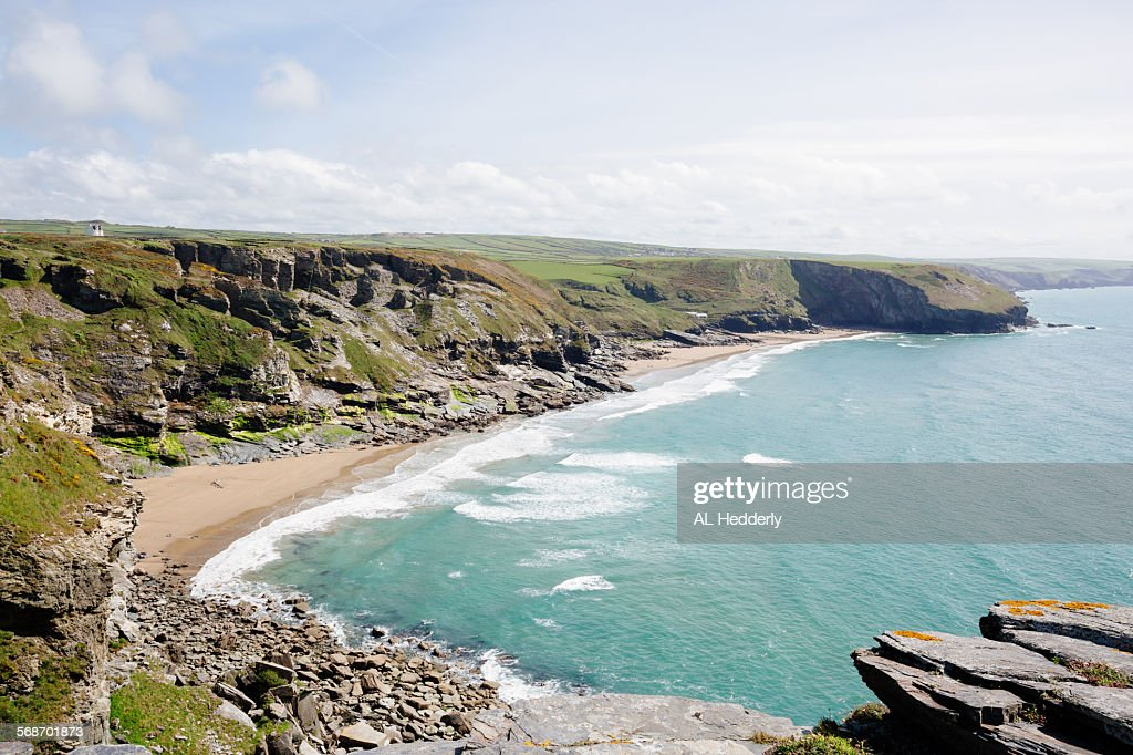 Coastline between Tintagel and Trebarwith Strand : Stock Photo