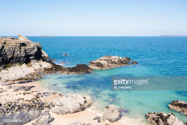 coastline by harlyn bay - bay of water stock pictures, royalty-free photos & images