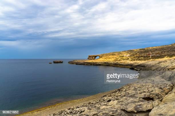 Coastline leading to Azure Window a limestone natural arch on the Maltese island of Gozo