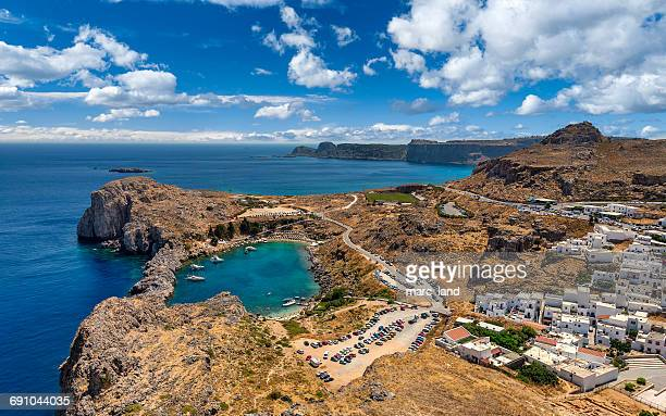 coastline, lindos, rhodes, greece - lindos stock photos and pictures