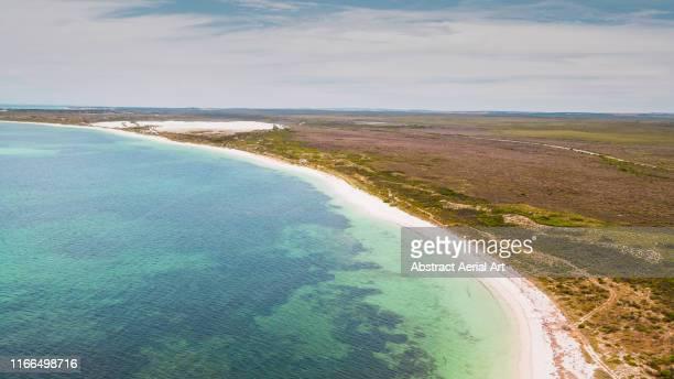 coastline near carnarvon as seen from above, western australia - western australia imagens e fotografias de stock