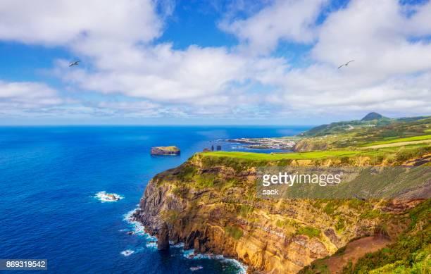 coastline near mosteiros on sao miguel, azores - ponta delgada stock photos and pictures