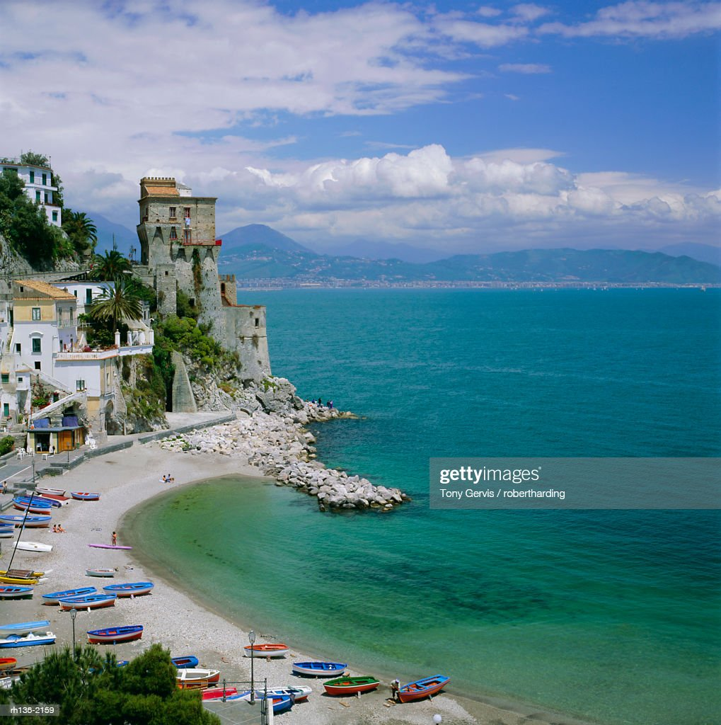 Coastline near Santa Margherita, Amalfi, Campania, Italy, Europe : Foto de stock