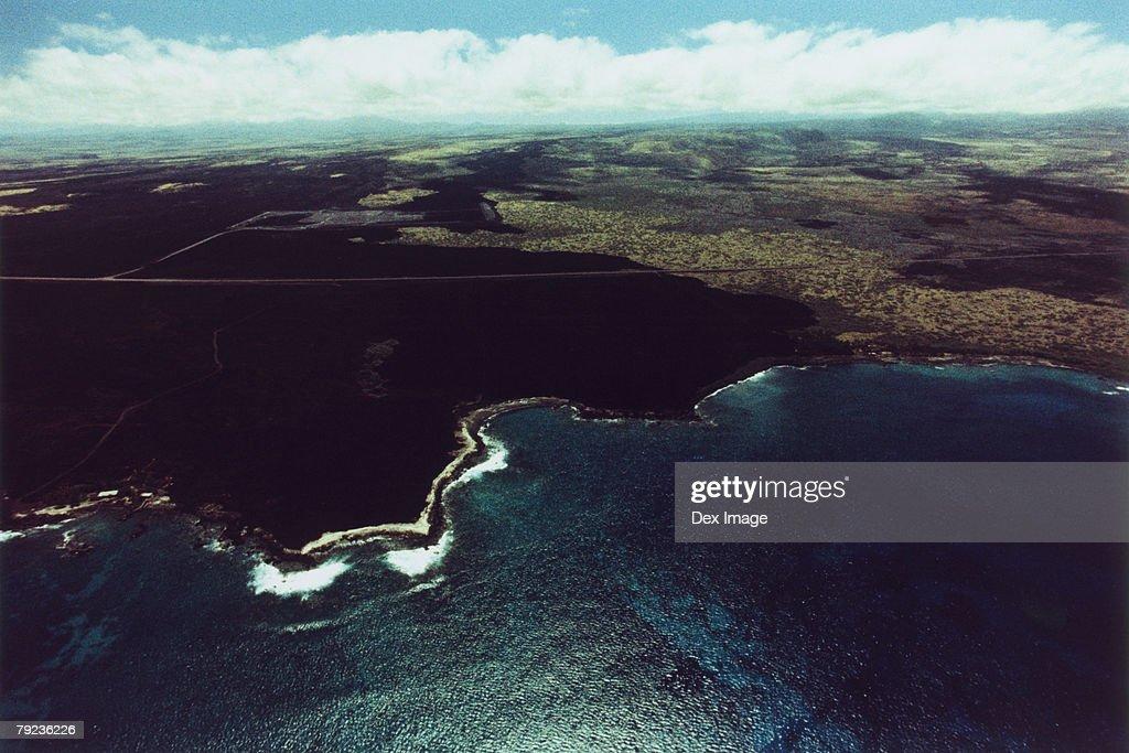 Coastline of Big Island, Hawaii, aerial view : Stock Photo