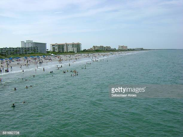 coastline of cocoa beach, florida, united states of america - cocoa beach stock pictures, royalty-free photos & images