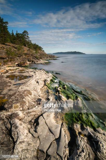 coastline of ladoga lake, karelia - coastline stock pictures, royalty-free photos & images