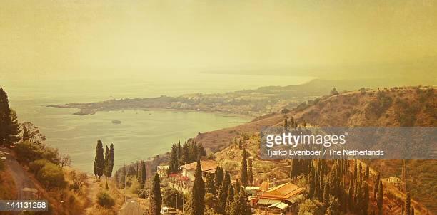 coastline of taormina and giardini naxos - naxos sicily stock pictures, royalty-free photos & images