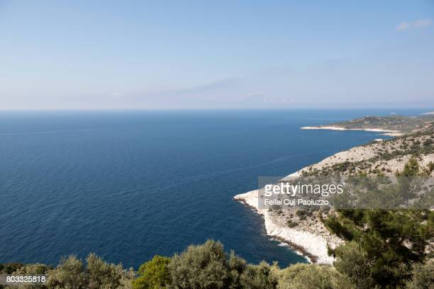 coastline of thasos island in east macedonia and thrace region, northern greece - thasos stock photos and pictures