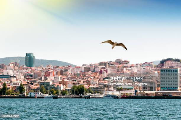 coastline of the spanish city of vigo seen from the sea - pontevedra province stock photos and pictures