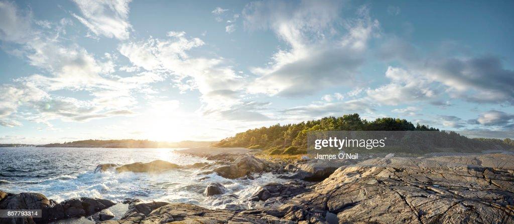 Coastline panoramic at sunset, Norway : Stock-Foto