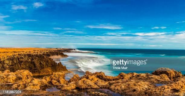 coastline water views at quobba western australia - western australia fotografías e imágenes de stock