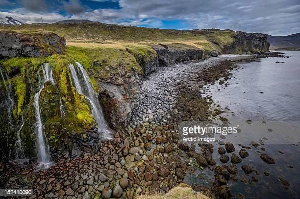 Coastline with waterfalls
