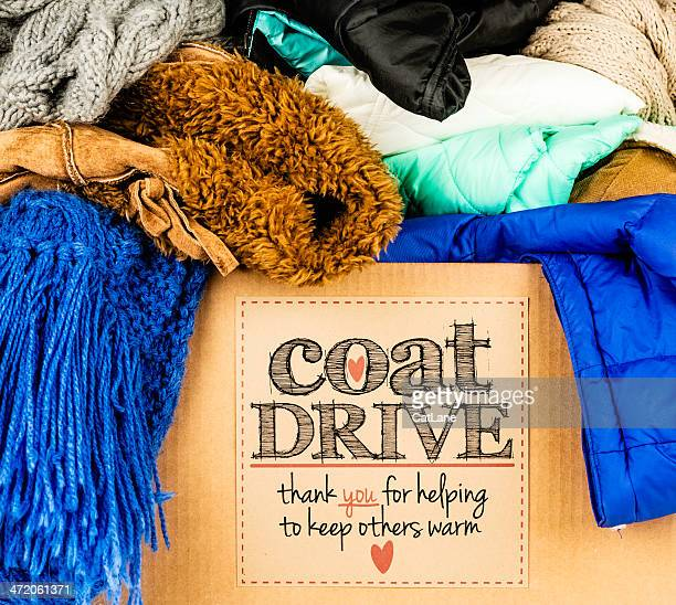 coat drive promotion - motivatie stockfoto's en -beelden