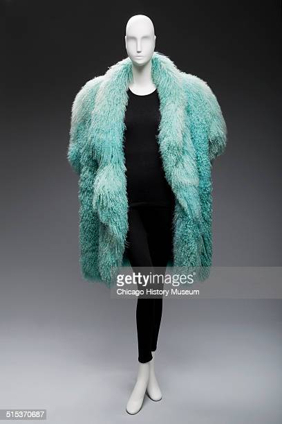 Coat made of fluffy blue sheepskin designed by Claude Montana circa 1980s Shown as part of the Chicago History Muesum's November 2014 'Chicago...