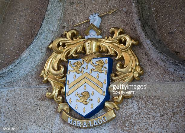 A coat of arms at MaraLago as US Presidentelect Donald Trump holds meetings December 28 2016 at MaraLago in Palm Beach Florida / AFP / DON EMMERT