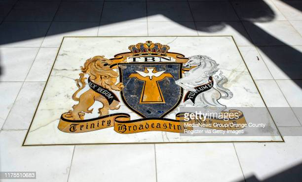 Coat of arms in the floor of the lobby of the former Trinity Broadcasting Network building located on Bear Street and the 405 freeway in Costa Mesa,...