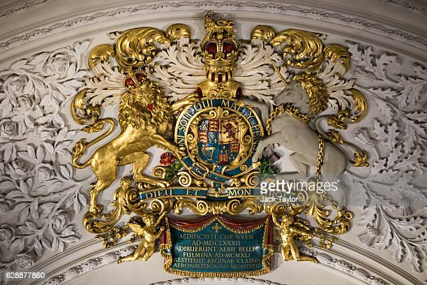 Coat of Arms is pictured on the ceiling during an AngloPolish Carol Service at the St Clement Danes Church on December 9 2016 in London England The...