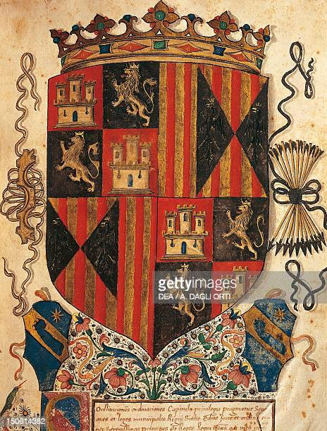 Coat of arms of Aragon miniature Heraldry Italy 15th century