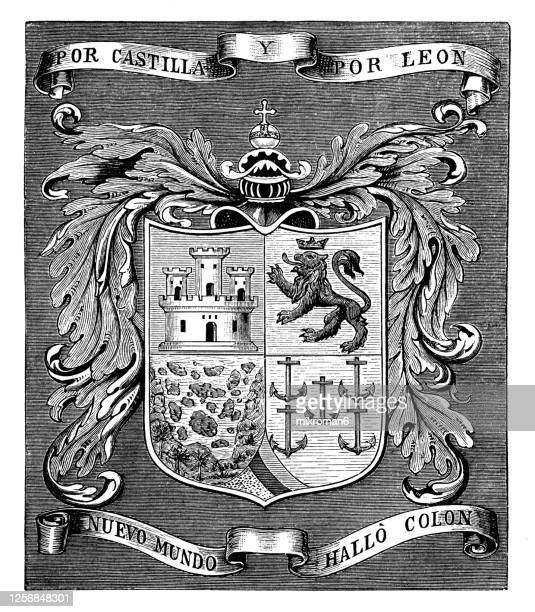 coat of arms of christopher columbus (before 31 october 1451 – 20 may 1506) italian explorer and navigator - insignia stock pictures, royalty-free photos & images