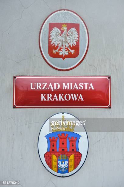 Coat of arms of Poland and City of Krakow On Thursday April 20 in Krakow Poland
