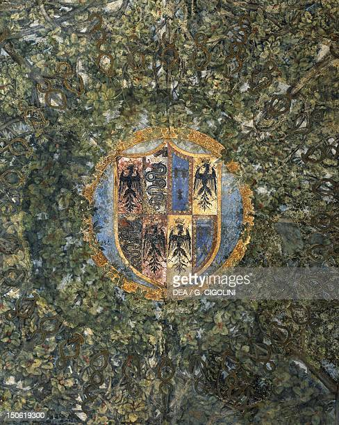 Coat of arms of the central vault of the Sala delle Asse Sforzesco Castle Milan Heraldry Italy
