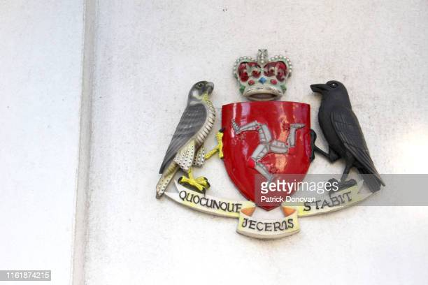coat of arms of the isle of man - coat of arms stock pictures, royalty-free photos & images