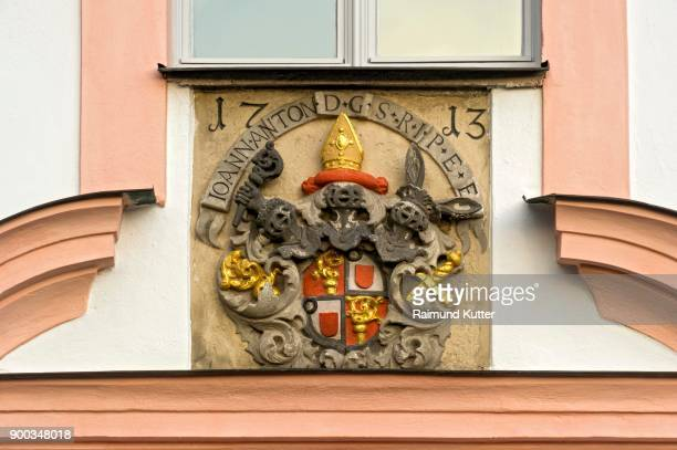 Coat of arms of the prince bishop Johann Anton I. Knebel of cathedral arch, Sacred Heart of Jesus, Notre Dame De Sacre Coeur, Eichstaett, Oberbayern, Bavaria, Germany