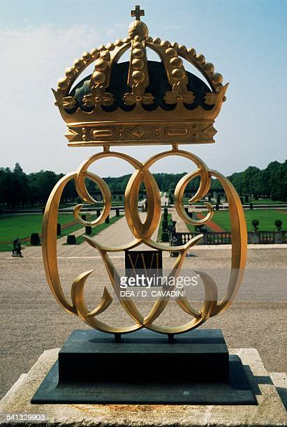 Coat of arms of the Swedish royal house Drottningholm palace Lovon island Sweden