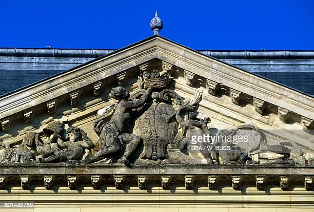 Coat of arms on the pediment of the facade of Chateau de Sable 17151750 technical centre of the National Library of France Pays de la Loire France...