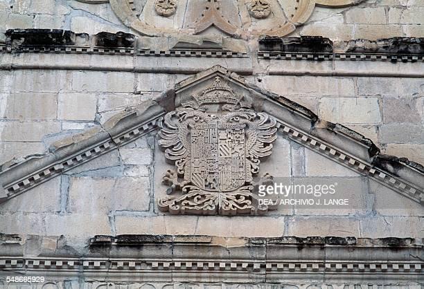 Coat of arms on the plateresque facade of the church of San Juan Bautista Coixtlahuaca Oaxaca Mexico 16th century