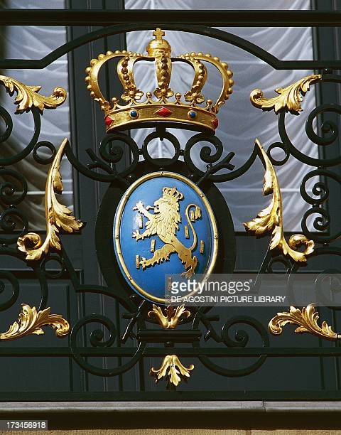 Coat of arms with rampant lion and crown, Grand Ducal Palace , Luxembourg City, Luxembourg.