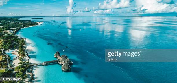 coatline of zanzibar at the indian ocean - zanzibar stock photos and pictures