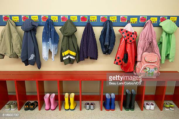 Coats and boots in a preschool classroom